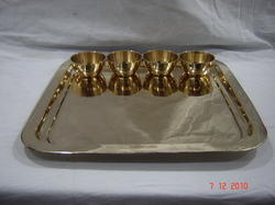Bhatia Sons Golden Square Brass Thali set, Size: 14