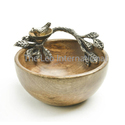 Decorative Wooden Bowl With Bird Shape Metal Handle