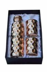 CU-27 Copper Diamond Cut Bottle with 2 Glass Set
