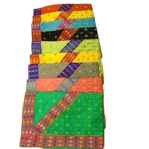 Casual Wear Ladies Embroidered Chanderi Cotton Saree, 6.5 Meter, With Blouse Piece