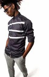 Designer Grey Full Sleeve Men Casual Cotton Satin Shirt