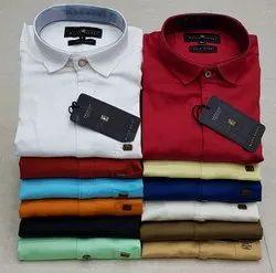 Cotton Printed Mens Party Wear Plain Satin Shirt, Size: S-xxl