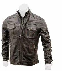 Leo Torresi Stylish Genuine Leather Motorcycle Jacket for Men- Grey