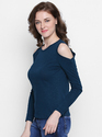 Ladies Cotton Cold Shoulder T- Shirt