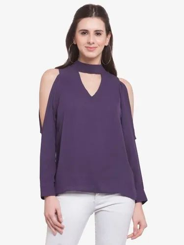Crepe / Polyester available Martini Women Purple Cold Shoulder Neck Band Top