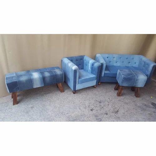 Leather Craft Recycled Denim Sofa Set