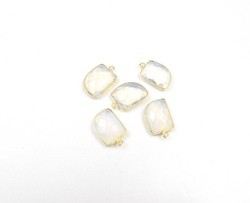 White Opal Handmade Charm Bezel Connectors