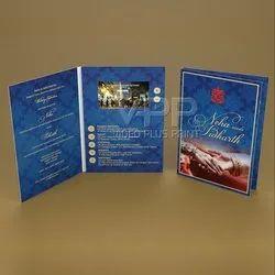 Portrait Blue 4.3 Inch Video Wedding Invite Brochure, Size: A5