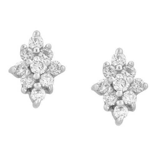 6a5aa0d9d Tanishq 18KT White And Yellow Gold Diamond Floral Studs Earring, Rs ...