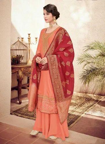 d72e917fd9 Gajri Georgette Satin Designer Palazzo Salwar Suits With Banarasi Silk  Dupatta