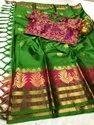 Beautiful Embroidery Work Cotton Silk Saree