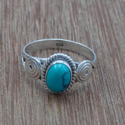 Turquoise Gemstone 925 Sterling Silver Jewelry Small Ring
