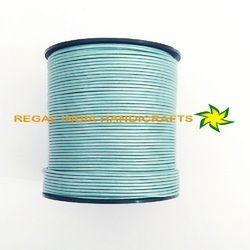 Blue Mosaic Metallic Round Leather Cord