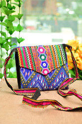 Wow Trendy cotton Handcrafted Multi Color Sling Purse