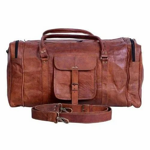 81de6dadd Brown Handmade Leather Duffle Bag, Rs 800 /piece, Rex Leather And ...