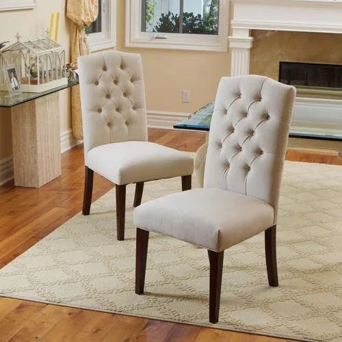 Luxe Linen Upholstered Tufted Dining Armchair: Restaurant Designer Chair, Seat Material : Cushion, Rs