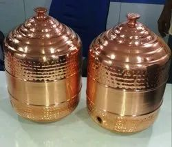 Cylindrical Hammered Copper Water Pot for Home