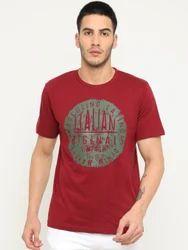 Masculino Latino Red Casual Printed Tees Shirt, Size: S