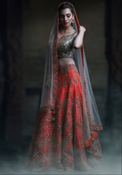 Coral Red Designer Bridal Lehenga Choli