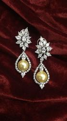 Abdesigns Anniversary American Diamond & Pearl Earrings
