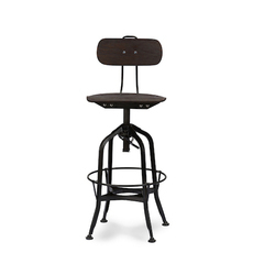 Iron Adjustable Bar Chair With Wooden Top