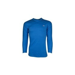 Mens Full Sleeves Round Neck Casual Blue T Shirt, Size: M - XL