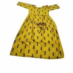 Yellow Pure Cotton Ladies Anarkali Printed Kurti