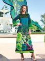 Sky Blue And Green Floral Palazzo Suit