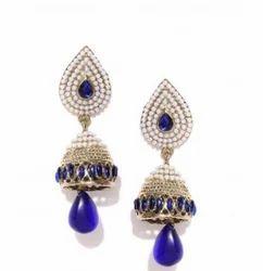 Zaveri Pearls White And Navy Earrings