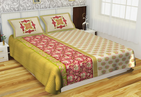 Mercerised Cotton Kurl On Art Of India BS2505 Bed Sheet