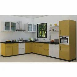 Teak Wood L Shape Modular Kitchen