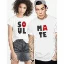 White Cotton Couple T Shirt