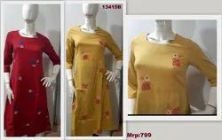13415 Cotton Printed A-Line Kurta