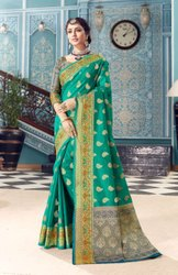 Jaquard Party Wear Latest Fancy New Arrival Banarasi Silk Saree, With blouse piece, 5.5 m (separate blouse piece)