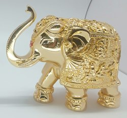 6 Inch Gold Plated Elephant Statue