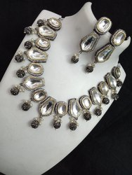 Wedding Wear Imitation kundan polki necklace set with earrings