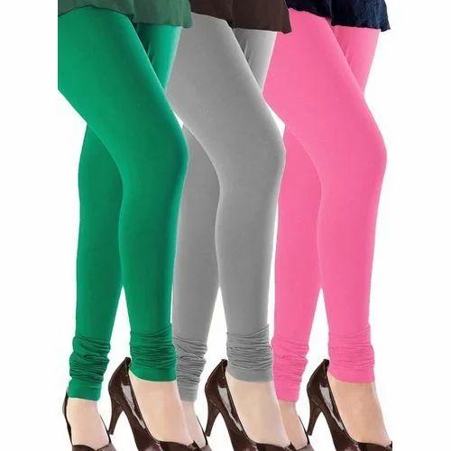 487b147824 Pink And Grey Plain Ladies Churidar Cotton Lycra Legging, Rs 90 ...