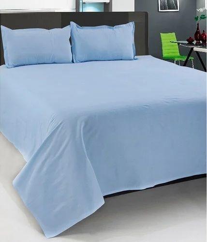 Jaipuri Print Cotton Plain Bed Sheet   Double, Size: 90x108 Inches
