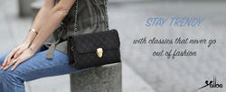Yelloe Black sling bag with Gold Chain Strap VK1S752j