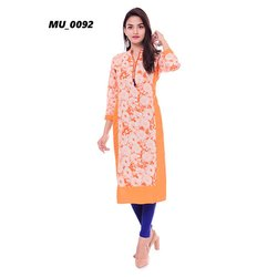 Orange Fancy Printed Kurti
