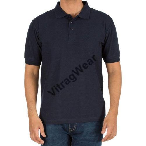 XL and Medium Printed and Plain Collar Mens Polo T Shirt Navy Blue
