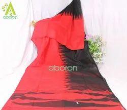 Red with Black Festive Wear Matka Silk Saree