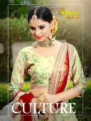 Fancy Jari Gota Satin Digital Printed Lahengha Choli