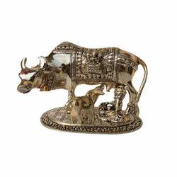 AJN-10 Silver Plated Brass Kamdhenu Statue