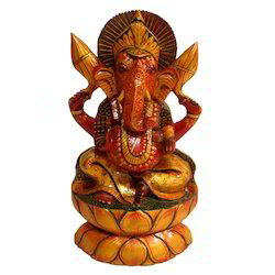 Hand Made Wooden Antique Kamal Ganesha Statue