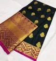 Silk Print Black Designer Saree With Blouse Piece