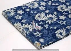 Indian Handmade Dabu Floral Jaipuri Print Cotton Indigo Blue Fabric