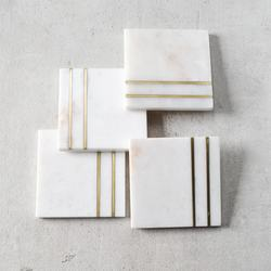 Marble Coasters With Brass Inlay