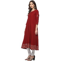 Yash Gallery Women's Cotton Printed Anarkali Kurta