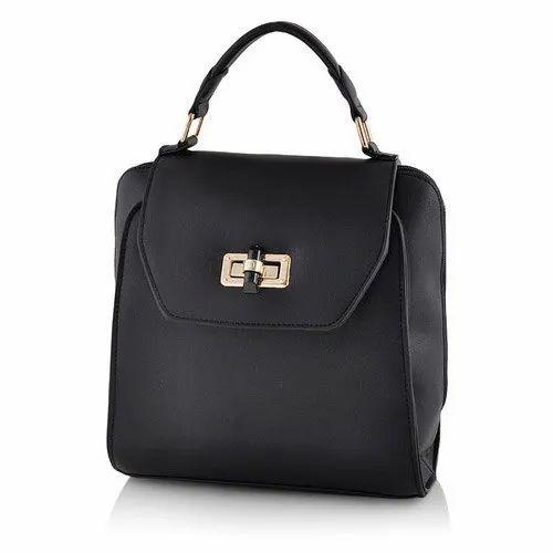 Black Plain Classic Womens Handbag 0b0758b663090